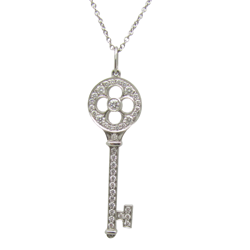 Tiffany co fleur de lis keys pendant in platinum with diamonds tiffany aloadofball Gallery