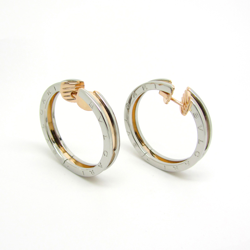 Bvlgari B Zero1 Steel 18k Pink Gold Hoop Earrings