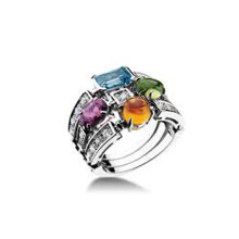 Bvlgari Allegra Ring Color Collection 3-band 18k white gold ring RefAN852714 b