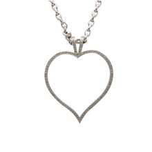 Theo Fennell Heart outline 'Art' pendant 18k White Gold and Diamonds