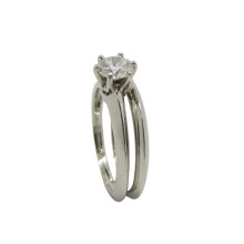 fa42bccc7 Platinum Knife Edge Ring with Round Diamond 0.42ct and matching Wedding