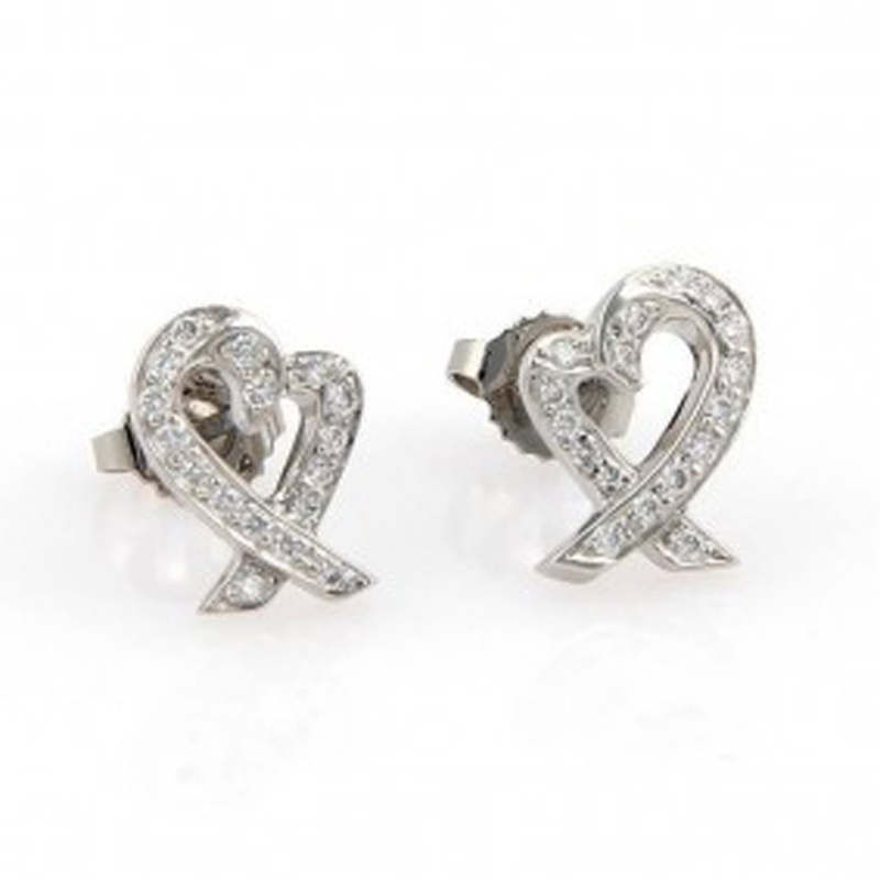 Tiffany Co Loving Heart Platinum And Diamond Earrings