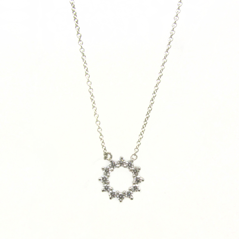and necklace tradesy platinum diamond co tiffany pendant i silver flower