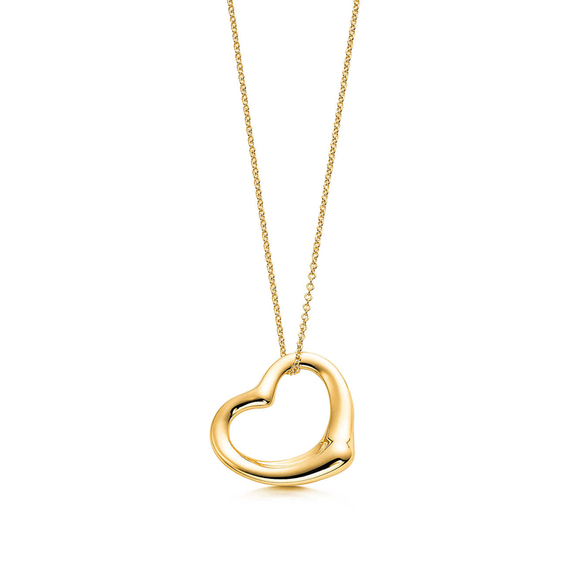 Tiffany co 18k yg open heart pendant by elsa peretti medium tiffany co 18k yg open heart pendant aloadofball