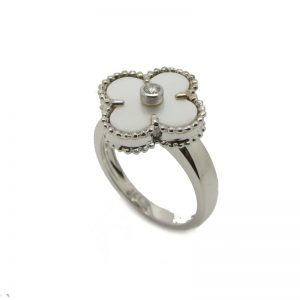 Van Cleef & Arpels Vintage Alhambra Ring in 18k White Gold with Mother-of-Pearl Motif