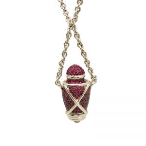 """Theo Fennell 18k White Gold & Ruby""""Ampoule"""" Pendant"""