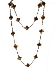 Van Cleef & Arpels Vintage Alhambra Long Necklace 18k Yellow Gold with 20 Tiger's Eye Motifs