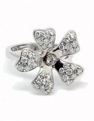 DeBeers Wildflower 18k White Gold and Diamond Ring