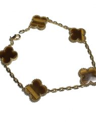 Van Cleef & Arpels Vintage Alhambra Bracelet in 18k Yellow Gold with Tiger's Eye Motifs