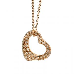 Tiffany & Co. 18k Rose Gold & Pavé Diamond Open Heart Pendant by Elsa Peretti 16mm