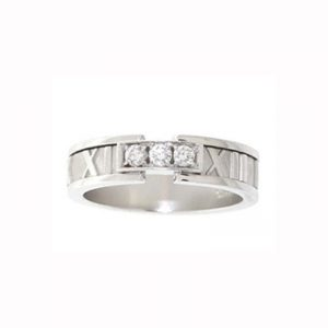 Tiffany & Co Atlas Ring 18k White Gold with Diamonds
