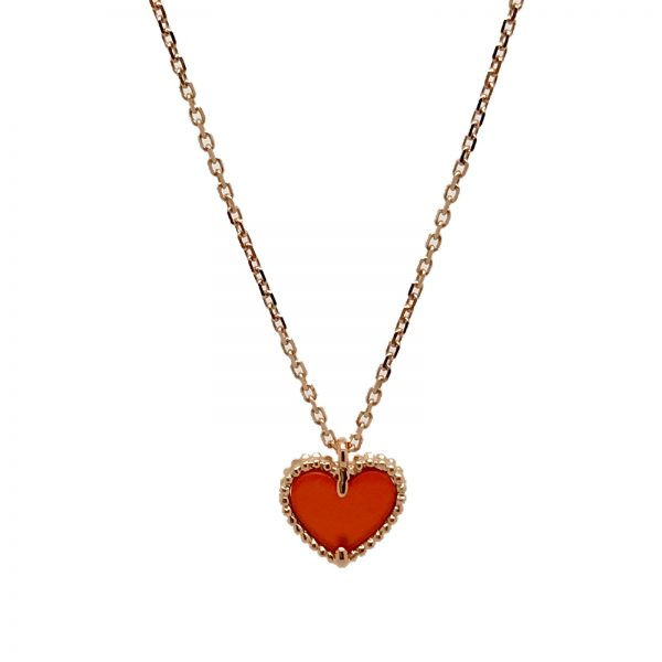 Van cleef arpels sweet alhambra pendant in 18k rose gold with van cleef arpels sweet alhambra pendant in 18k rose gold with carnelian heart motif aloadofball Choice Image