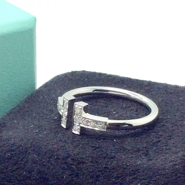 782b78eaa1525 Tiffany & Co. Tiffany T Wire Ring 18k White Gold with Diamonds