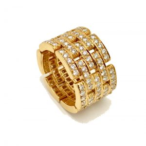Cartier Maillon Panthère Ring 18k Rose Gold with Diamonds