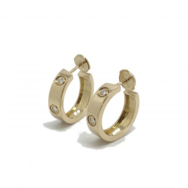 cartier love earrings 18k yellow gold with 6 diamonds
