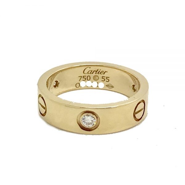 Cartier Love Ring 18k Yellow Gold With 3 Diamonds
