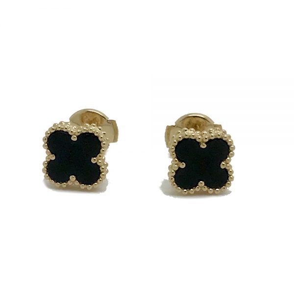 85aabf3f734e Van Cleef   Arpels Sweet Alhambra Earstuds 18k Yellow Gold with Onyx Motifs