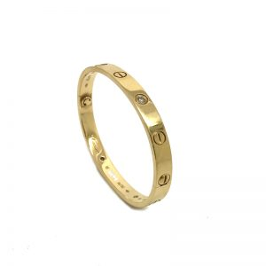Cartier Love Bracelet in 18k Yellow Gold with 4 Diamonds Size 16
