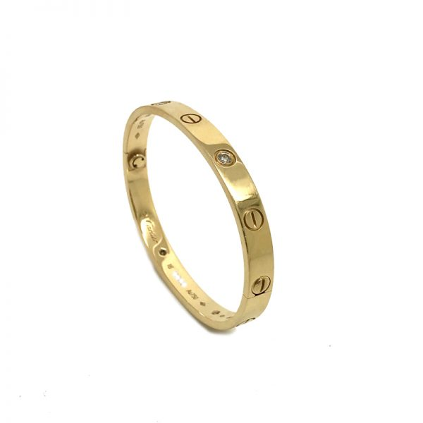 803f232197d Cartier Love Bracelet in 18k Yellow Gold with 4 Diamonds Size 16