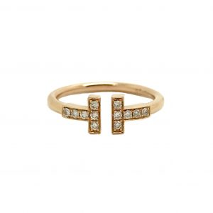Tiffany & Co. Tiffany T Wire Ring 18k Rose Gold with Diamonds