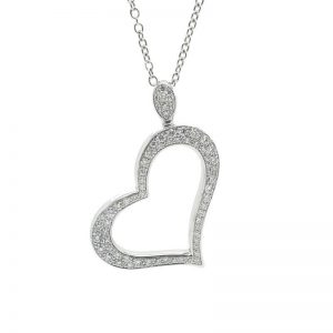 Piaget Heart Pendant 18k White Gold with Diamonds