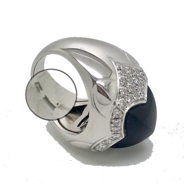 Bvlgari Onyx And Diamond Pyramid Ring In 18k White Gold