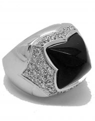 Bvlgari pyramid ring onyx and diamonds 18k white gold (6)