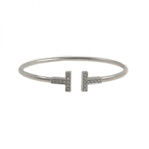 bfb85532d Tiffany & Co. T Wire Bracelet 18k White Gold with Diamonds