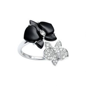 Cartier Caressee D'Orchide Ring in 18k White Gold with Onyx and Diamonds