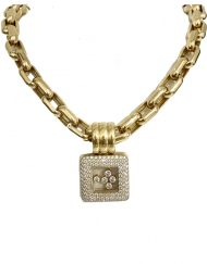 Chopard Happy Diamonds Square Necklace 18k Yellow Gold (5)
