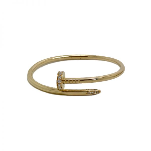 0f71f3fabd7f3 Cartier Juste Un Clou Bracelet 18k Yellow Gold with Diamonds Size 17  B6048617