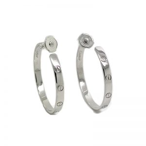 Cartier Love Hoop Earrings 18k White Gold CRB8028300