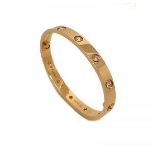 Cartier Love Bracelet in 18k Rose Gold with 10 Diamonds Size 16