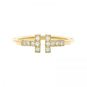 Tiffany & Co. Tiffany T Wire Ring 18k Yellow Gold with Diamonds