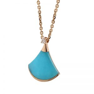 Bvlgari Divas' Dream Necklace 18k Rose Gold with Turquoise and Diamond