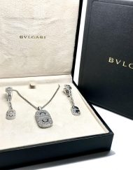 Bvlgari Parentesi 18k White Gold and Diamond Charm Pendant and earring set (9)