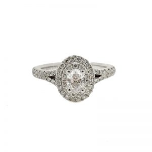 Vera Wang 'Love' Oval Double Halo Ring 18k White Gold with Diamonds