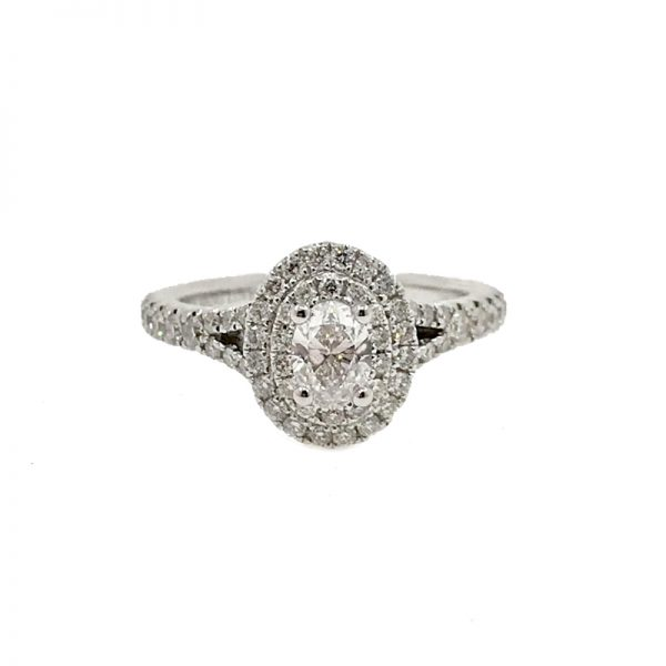 Vera Wang Love Oval Double Halo Ring 18k White Gold With