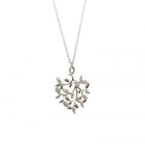 Tiffany & Co. Olive Leaf  Pendant 18k White Gold with Diamonds by Paloma Picasso