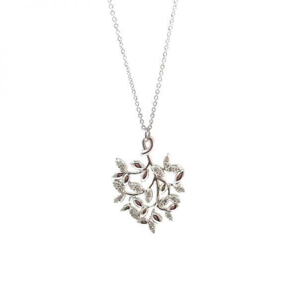 ee5620226 Tiffany & Co. Olive Leaf Pendant 18k White Gold with Diamonds by ...