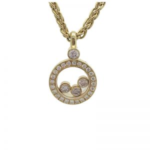 Chopard Happy Diamonds Round Pendant 18k Yellow Gold with Diamonds