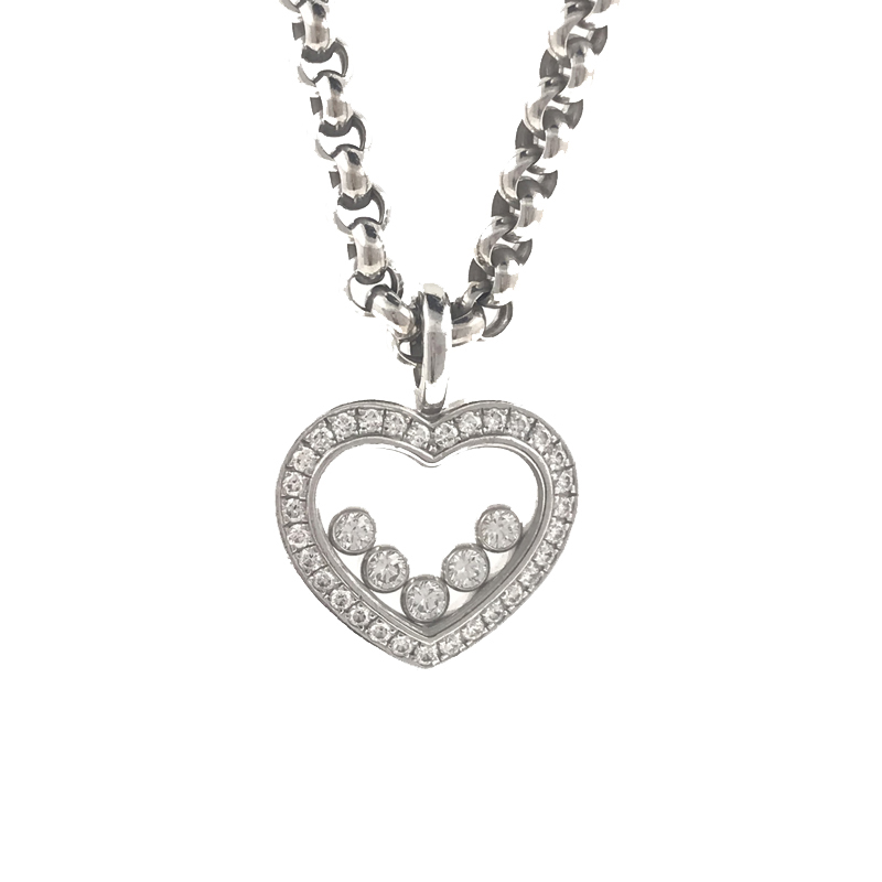 Chopard Happy Diamonds Heart Pendant 18k White Gold with 5 Floating Diamonds