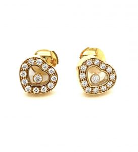 Chopard Happy Diamond Icons Heart Earrings 18k Yellow Gold BRAND NEW